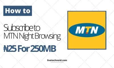 How to Subscribe to MTN Night Browsing N25 For 250MB