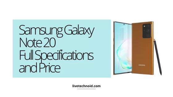 Samsung Galaxy Note 20 Full Specifications and Price