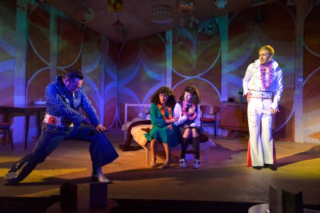 L-R Joe Caffrey, Tracy Whitwell, Victoria Bewick and Riley Jones in Cooking with Elvis by Lee Hall