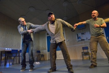 Riley Jones, Joe Caffrey and Chris Connel in Wet House by Paddy Campbell. Photo by Keith Pattison.