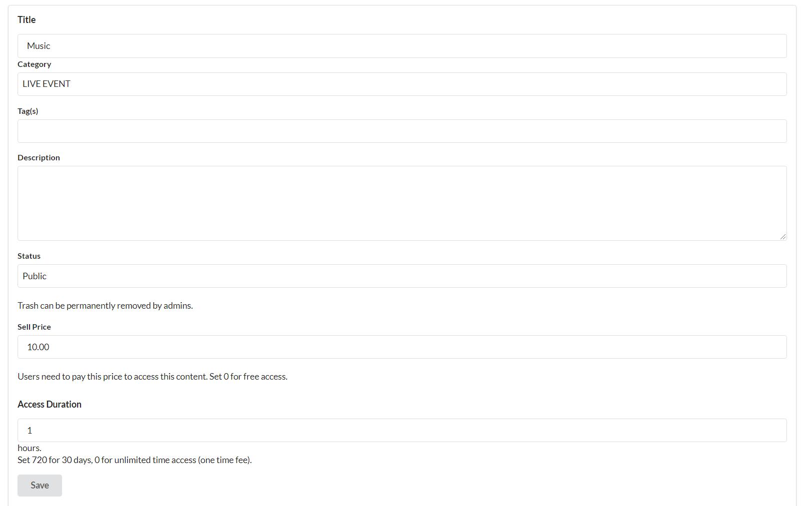 access-price-setup