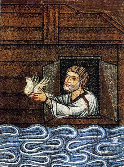 En annan typ av kristendomens duvor. Här släpper Noak ut en duva från sin ark.