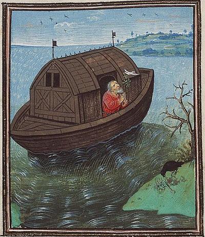 Här släpper Noak ut en duva från sin ark.
