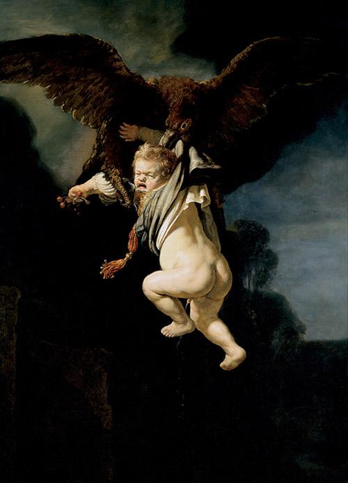 En oljemålning som visar en  stor örn som flyger med en storvuxen bebis i näbben. Bebisen är Ganymedes.