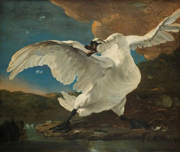 En oljemålning som föreställer en stor svan med vingarna utbredda. Den försvarar sitt näste i vattenbrynet, mot en liten hund som syns i tavlans vänstra hörn.