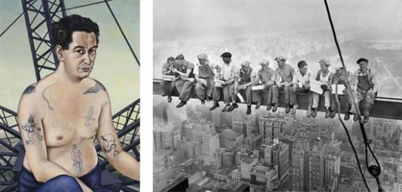 Till vänster syns porträttet av Egon Erwin Kisch. Till höger ett svartvitt fotografi som visar byggnadsarbetare som har rast på en stålbalk högt uppe i New York.
