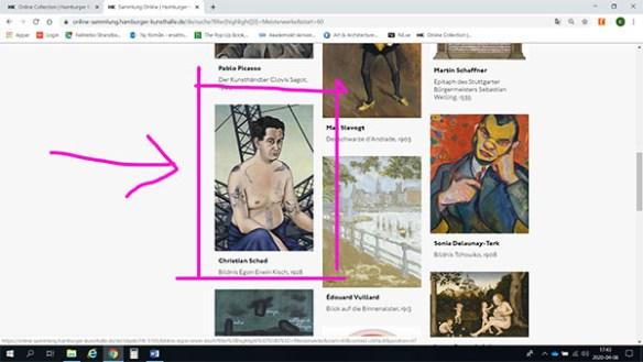 Skärmdump som visar en överblick av olika konstverk. Porträttet på Egon Erwin Kisch är markerat med rosa färg.