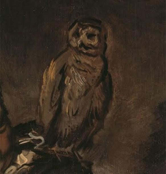 Detaljbild från målningen Malle Babbe. En uggla.
