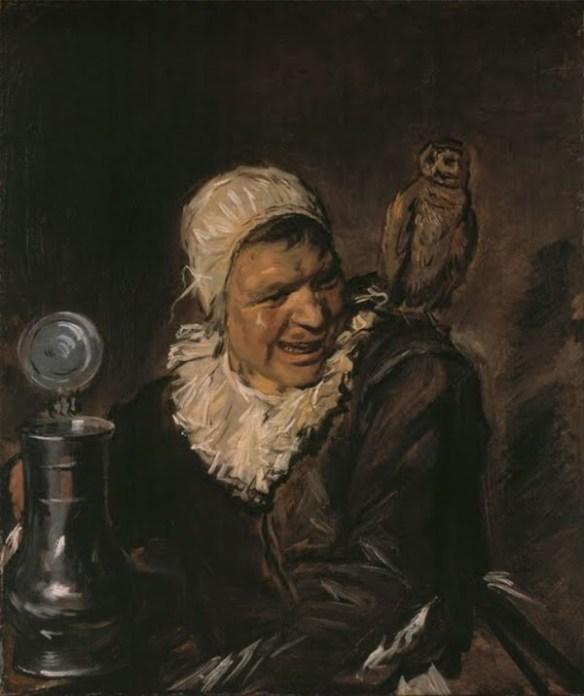 Oljemålningen Malle Babbe, som visar en kvinna i halvbild med ett ölstop framför sig. På hennes ena axel sitter en uggla.