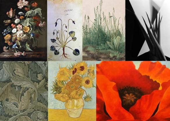 Bilden visar sex olika blomsterbilder ur konsthistorien. Bl a ett barock-stilleben, van Goghs solrosor och ett svartvitt foto av agaveplantan.