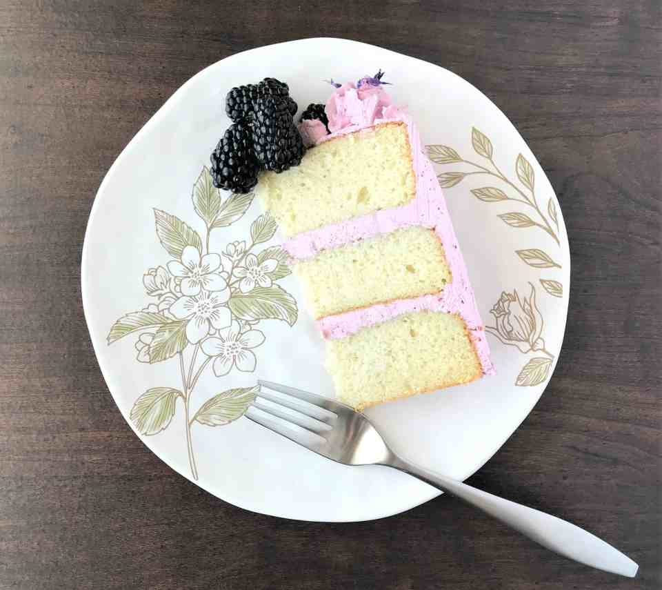 Vanilla Cake with Blackberry Buttercream
