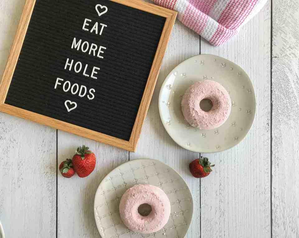 strawberry powdered sugar doughnuts