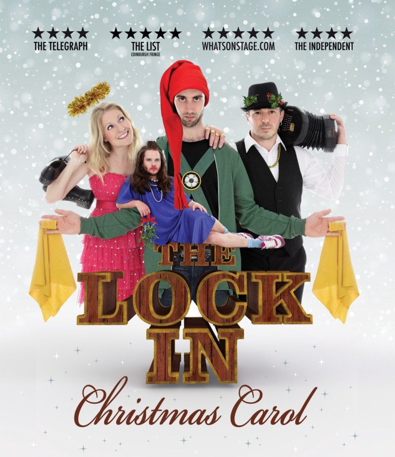 The Lock In Christmas Carol image, featuring a morris dancer, Damien with a concertina, Laura dressed as an angel and Ben dressed as Jasmineezer Scrooge