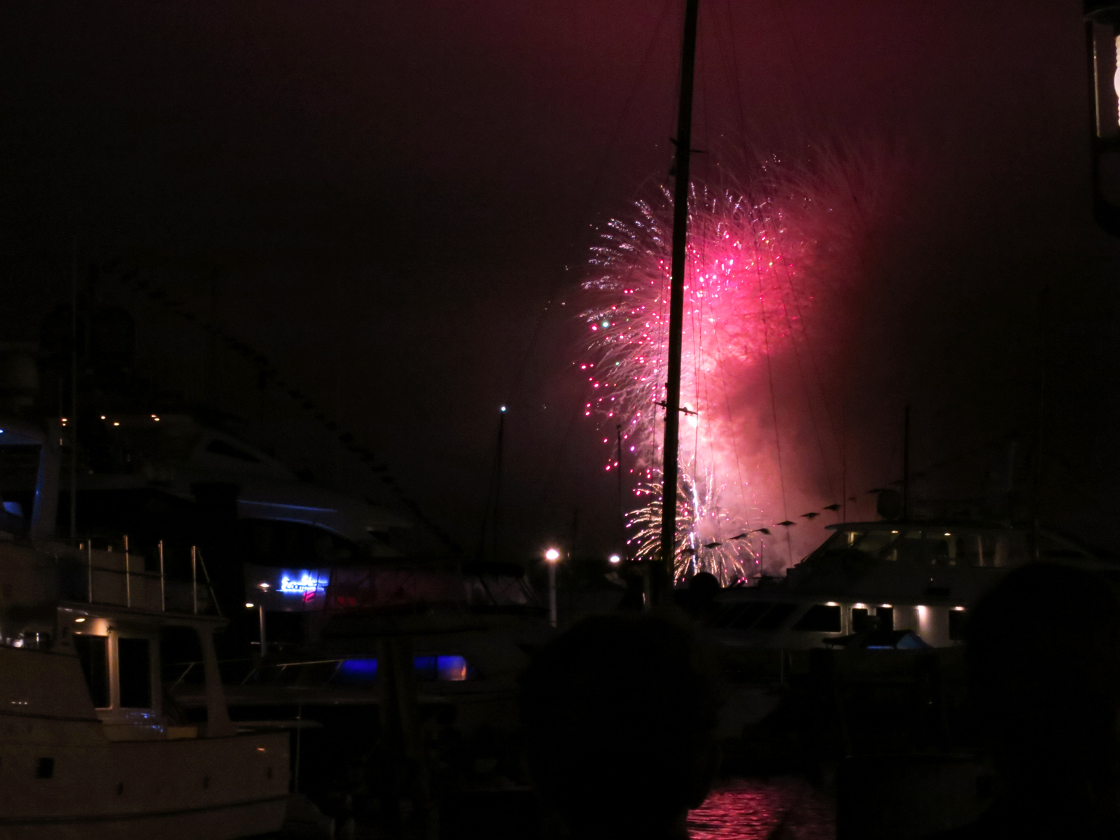 ROCKET'S RED GLARE OVER NEWPORT HARBOR - live. travel. adventure. bless. | The spectacular finale of the Newport Harbor Fireworks display in Newport, RI with stunning light pink and magenta fireworks. Happy 4th of July!