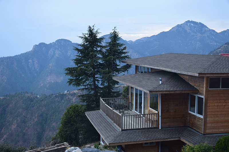 Club Mahindra (Note - Surkanda devi temple at peak of rightmost mountain)