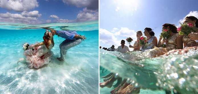 Acest cuplu a decis să facă ceva inovator și s-au căsătorit în largul Mării Caraibilor