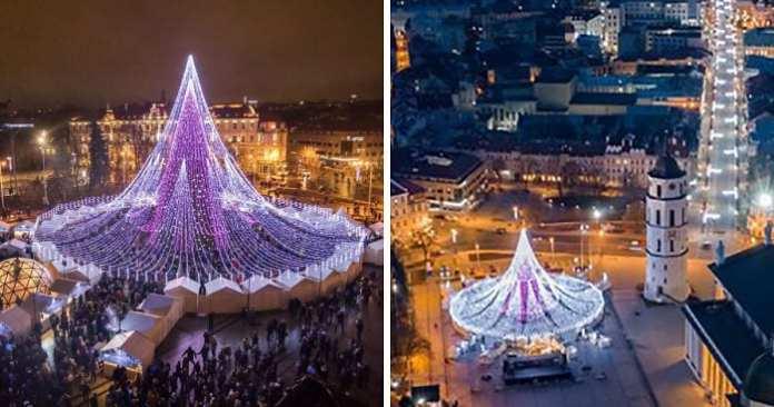 Lituania are cel mai spectaculos brad de Crăciun din acest an. Are peste 70.000 de luminiţe şi poate fi văzut de la mare distanţă!