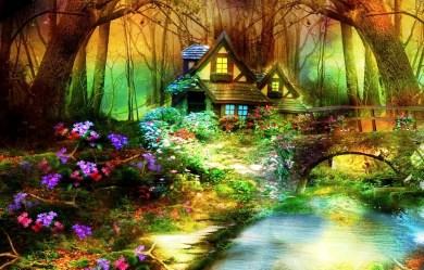 fantasy landscape fairyland hd forest fairy folklore herbal gardener magical wallpapers desktop nature 4k magic houses oregano garden cottage 3d