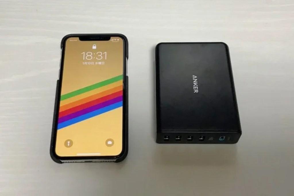 iPhone XとPowerPort+ 5