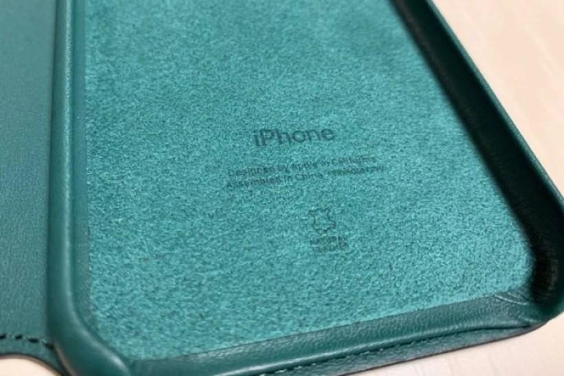 iPhone XSレザーフォリオ ケース内側