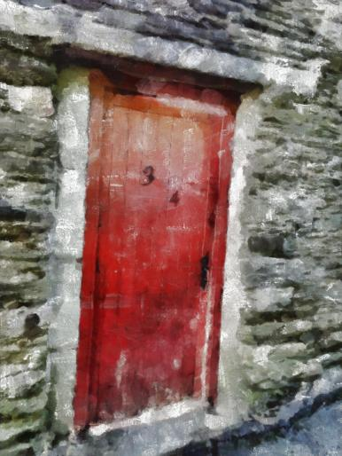 red-wooden-door-painting