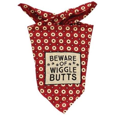 Beware of Wiggle Butts Doggie Bandana is a 100% rayon fabric pet bandana
