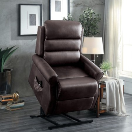 Jareth lift chair in brown leatherette