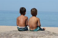 photo of brothers at the beach; little boys; lake michigan