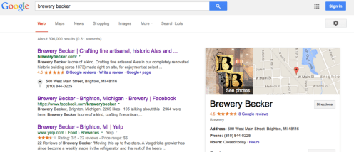 Brewery Becker_google plus page   google maps   my business search results   working with Rockwell Art and Design