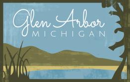 Glen Arbor Michigan Poster art logo_lake dunes TEXTURED