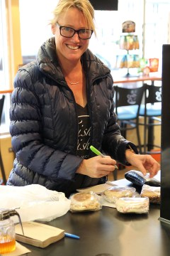 IMG_7106_Trish_Trish Dishes_delivering sandwiches to Bayside Coffee Tea_local business owners_Leelanau_photo by Raquel Jackson