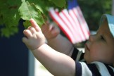 small child's hand reaching american flag