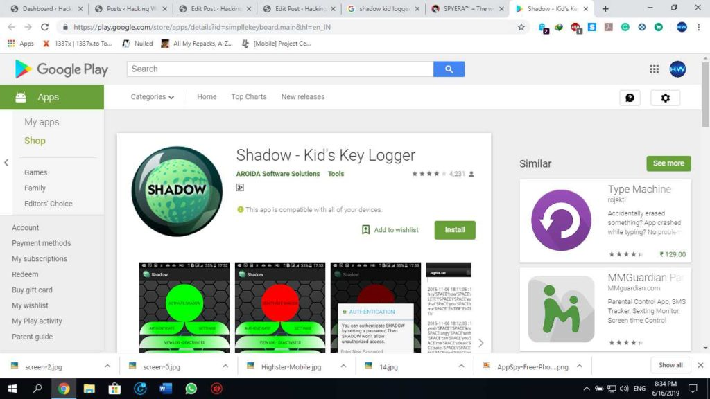Shadow- Kid's key logger