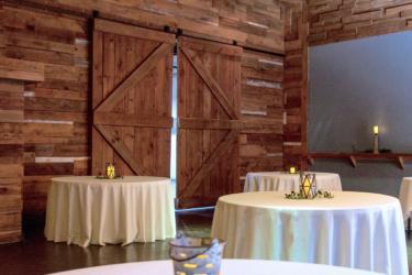 A Barn Doors with table arrangement