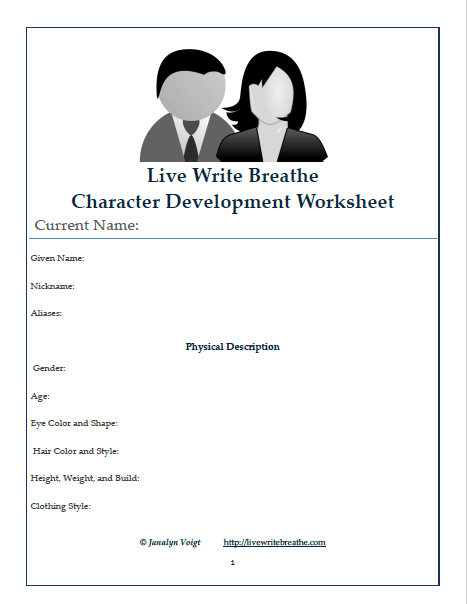 Printables. Character Development Worksheet