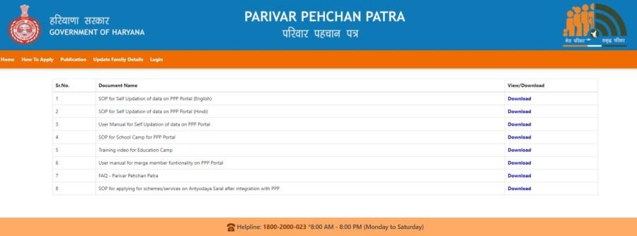 Haryana-Parivar-Pehchan-Patra-Publication, Family ID Haryana