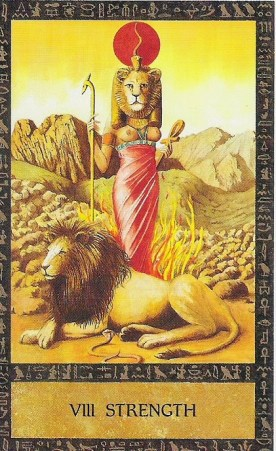 The Goddess Sekhmet as the Strength Card in Clive Barrett's Ancient Egyptian tarot deck. http://www.pinterest.com/pin/52213676901795857/