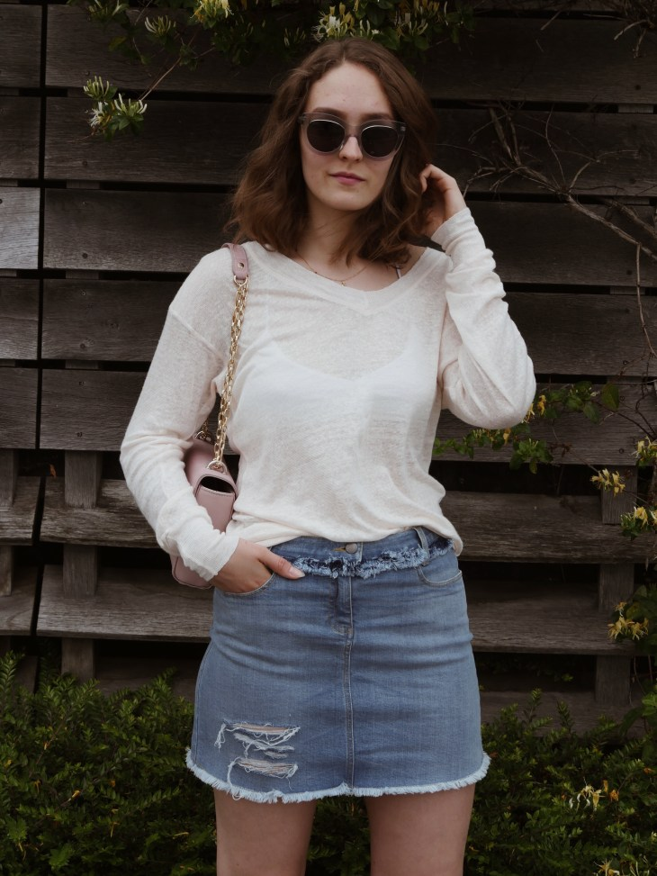 5858cff4b8a Blush coloured linen sweater by Vildnis £65 · Jeans skirt by Vildnis £60 ·  Pink vegan bag by Labante £80 · Sunglasses by Ace   Tate £98