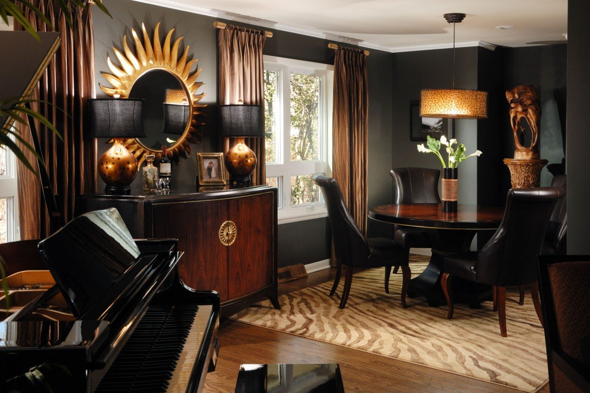Living room  decorating with black