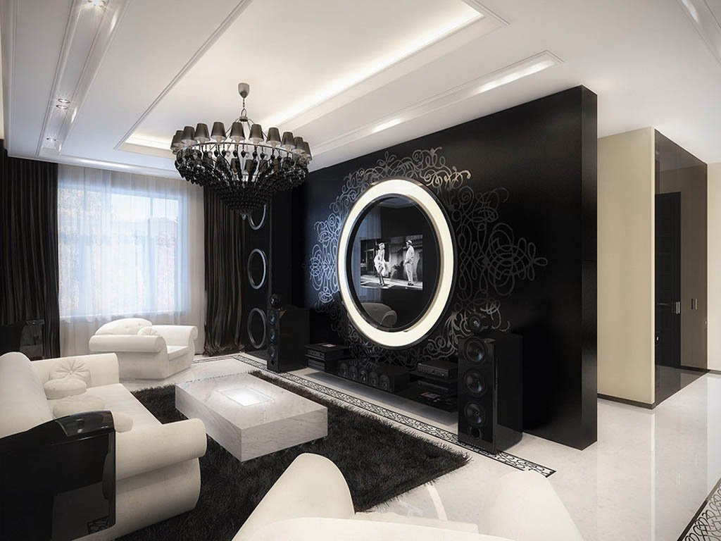 black and white themed living room ideas decorate wall hangings high contrast style decorating in