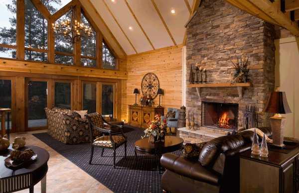 Home Interior Log Cabin Fireplace