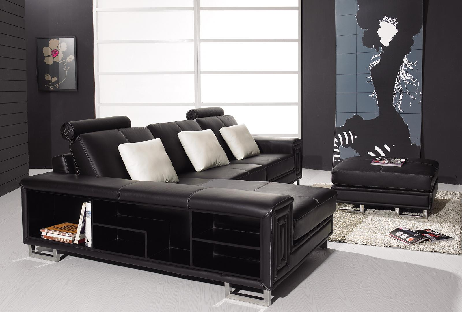 modern black leather sofa espresso square design occasional console table bookshelf the versatility and allure of seating