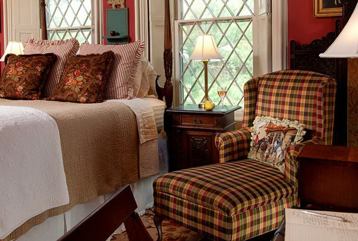 blue pattern accent chair rush seat chairs snuggle up with plaid in your home