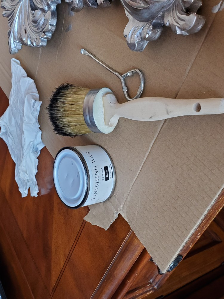 Brush and wax used in project