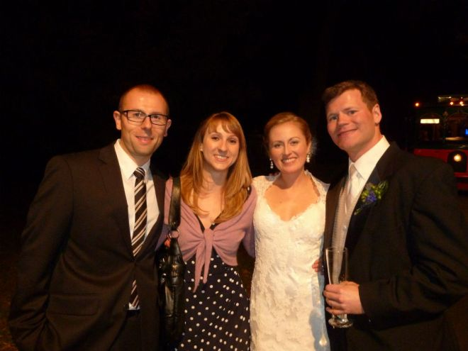 Moritz and me with the bride and groom