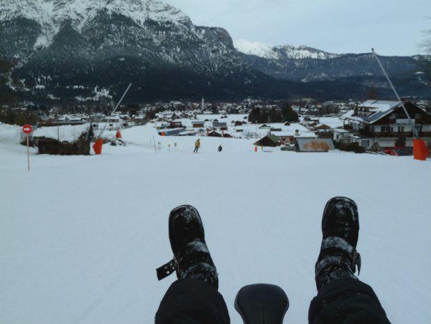 Sledding down the German Alps