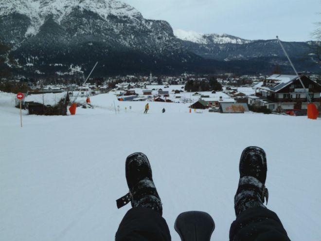 Sledding down the German Alps!