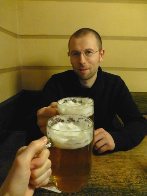 Enjoying Czech beer in Prague