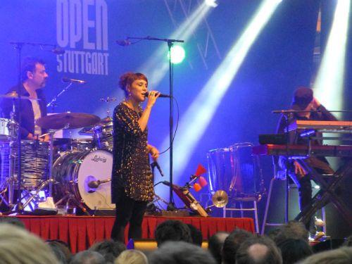 Zaz singin at Jazz Open in Stuttgart