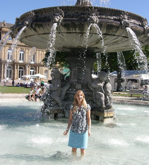 Standing in the fountain at Schlossplatz